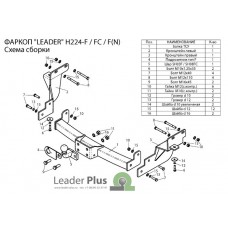 ТСУ Leader Plus для Hyundai Santa Fe (2012-2019), H224-FC / H224-F